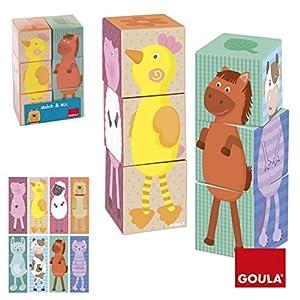 Goula - Match & Mix, 6 Cubos de diseño Granja (Diset 53418)
