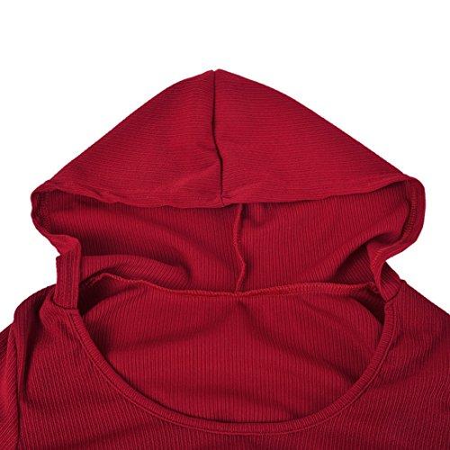 Oeak Vêtement de Sport Femme 2 Pièces Survêtements Ensembles Top Manches Longues Pantalon de Yoga Sportswear Fitness Vin Rouge