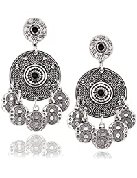 Young & Forever Mothers Day Gifts Tribal Muse Collection Burnished Silver Mandala Disc Shaky Dangler Earrings...