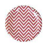 Illume 12 Kleine Papp-Teller in Rot Weiß mit Chevron Muster