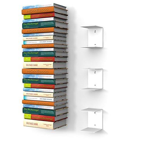 3 weisse unsichtbare Bücherregale mit 6 Fächern für große Bücher bis 30cm Tiefe und für 150cm hohen Bücherstapel