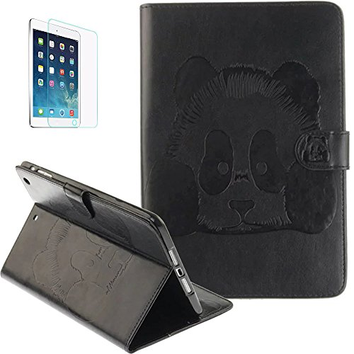 Apple iPad Air/ipad 5(2013) Smart Case Hülle mit Panzerglas,ISENPENK Original Flip Bookstyle samrt cover Wasserdicht Shockproof Anti Slip Protection Stoßfest Leather Case mit Standfunktion,3D Panda Muster Pattern Wallet Case mit Intern Karte Schlitz,Outdoor Stoßdämpfend Smart Case Sleep/Wake Funktion Luxus Wallet Tasche Schutzhülle Leathertasche für Apple iPad Air/ipad 5(2013) 9.7Zoll[schwarz]+Panzerglas/Schutzfoile/Scutzglas