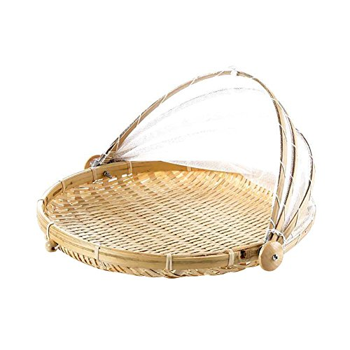 Zyurong cestelli di cibo con garza, bug- prova antipolvere bambù cestino da picnic cestino per pane frutta verdura Round L