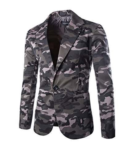 Herren Lässig Camouflage Slim Fit Blazer Anzugjacke Sakko Blazer Casual Sakko Grau XL