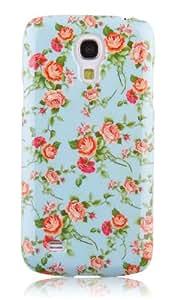 JAMMYLIZARD   Vintage Back Cover Hülle mit Muster für Samsung Galaxy S4, BLAUES BLUMENMOTIV