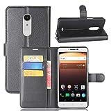 Wrcibo Alcatel A3 XL Custodia Premium PU Portafoglio Pelle Custodia Stand Flip Cover con Chiusura Magnetica per Alcatel A3 XL Smartphone (Nero)