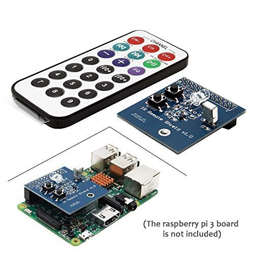 Geekworm Raspberry Pi 3 B + 38 kHz IR Infrarot Remote Expansion Board + Fernbedienungs-Kit - Transmitter/Empfänger/Transceiver Shield IR Control Kit für Raspberry Pi 3 Modell B Plus / 3B / 2B / B+