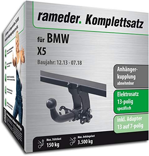 Rameder Komplettsatz, Anhängerkupplung abnehmbar + 13pol Elektrik für BMW X5 (131704-11482-2) (X5 Anhängerkupplung)