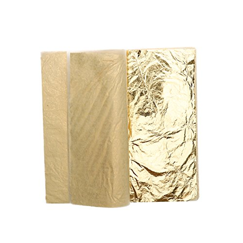 Ultnice Goldblätter, aus nachgemachter Goldfolie, für Kunsthandwerk, Dekoration, Vergoldung, Basteln, Bilderrahmen, 100 Stück -