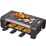 KLAGENA Raclette Partygrill mit einer hochwertigen geriffelten Wendegrillplatte und 6...