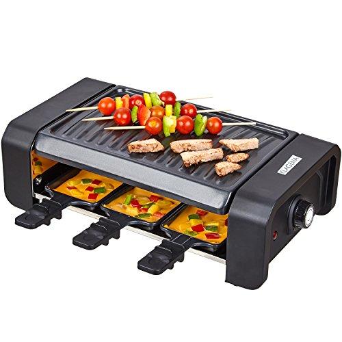 KLAGENA Raclette Partygrill mit einer hochwertigen geriffelten Wendegrillplatte und 6 Raclette-Pfännchen – Raclette-Grill, Multi-Grill, Grill-Platte