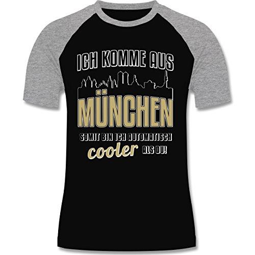 Städte - Ich komme aus München - zweifarbiges Baseballshirt für Männer Schwarz/Grau Meliert