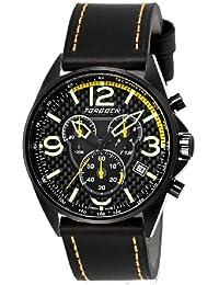 Torgoen T18103 - Reloj cronógrafo de cuarzo para hombre, correa de cuero color negro