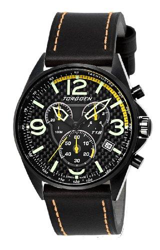 Torgoen - T18103 - Montre Homme - Quartz Chronographe - Cadran Noir - Bracelet Cuir Noir