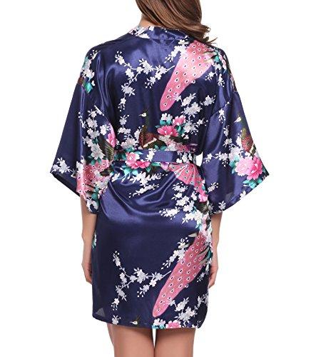 ADORNEVE Femme Robe de Nuit Kimono Satinée Nuisette Courtes Paon Bleu Foncé
