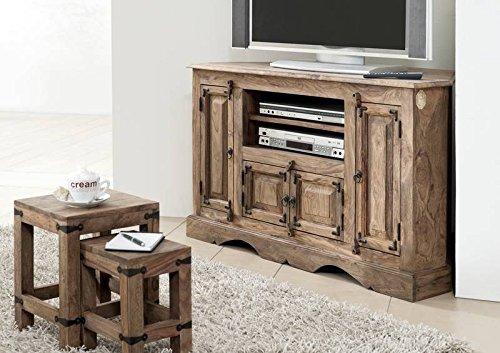 MASSIVMOEBEL24.DE Fernsehschrank Holz Tv Schrank Palisander Sheesham Kolonialstil geölt grau 114x56x69 cm Leeds #10