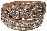 styleBREAKER Nieten Gürtel im Vintage Style mit echtem Leder 03010008 (105cm, Bronze)