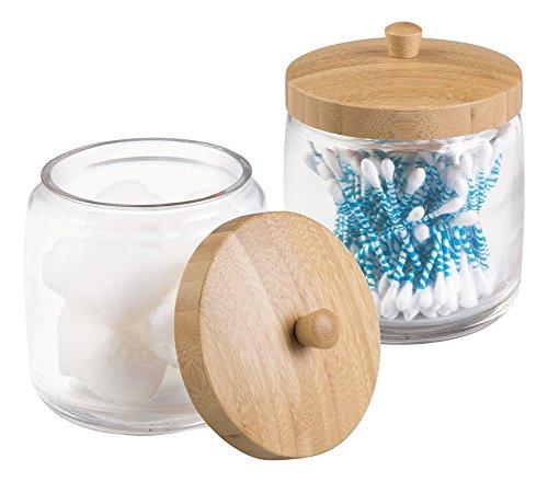 MetroDecor mdesign Badezimmer Vanity Kanister Jar für Baumwolle Bälle, Wattestäbchen, Kosmetik-Pads, 2Stück, transparent/natürlich -