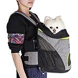 Petsfit einstellbare Hund Bauchtrage mit Kopf heraus Design, Katzen Reise Backpack mit Netzseiten, 32cm x 24cm x 40cm, grau mit grün