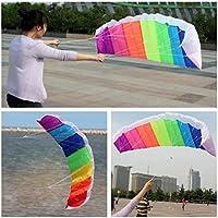Hunpta Kite para niños, de 1,4 m de arcoíris de doble línea,