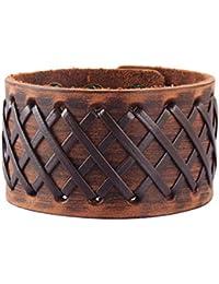 c3bd32e09228 Original Tribe Hombres antiguos de cuero marrón Brazalete Cuero venda de  muñeca del Wristband Handcrafted Jewelry