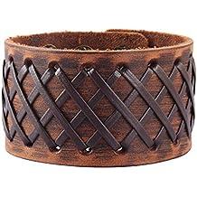 b9e690c837d9 Original Tribe Hombres antiguos de cuero marrón Brazalete Cuero venda de  muñeca del Wristband Handcrafted Jewelry