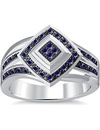 Silvernshine 1.35Ctw Round Cut Blue Sapphire Sim Diamonds 14K White Gold Plated Engagement Ring