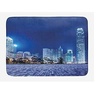 Urban Bath Mat, Hong Kong Skyline Night Architectural Cityscape Skyscrapers Modern Photo, Plush Bathroom Decor Mat with Non Slip Backing, 23.6 W X 15.7 W Inches, Royal Blue Purplegrey