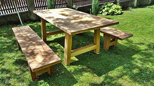 Tavoli Da Giardino Legno Rustici.Casa Padrino Mobili Da Giardino Set Tavolo Rustico 2 Panchine