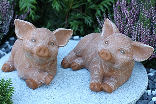 Steinfigur Schwein 2er Set, 126, 175 Ferkel, Gartenfigur Steinguss Tierfigur Terrakotta Patina
