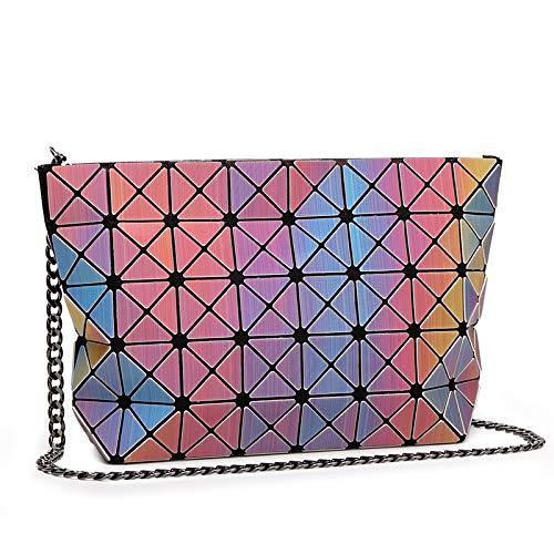 M'SM Frauen Bunte Laser Checker Faltbare Tasche Ladies Commute Party Abend Shinning geometrische 3D Gitter Kette Schulter Cross Bag,1 3d-checker
