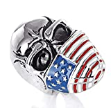 Epinki Anillo para Hombre Acero de Titanio Anillo de Confianza Cráneo Bandera Americana Anillos Hombre Anillos de Banda Plata Talla 17