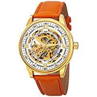 Akribos XXIV Men's 'Saturnos' Skeleton Automatic Genuine Gold Leather Strap Watch - AK410