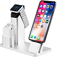 Aluminio 3 in 1 Apple Watch Stand, iPhone Airpods Soporte de muelles Charging Stand Docks Holder Base de Carga Charge Station para Airpods iWatch serie 3 2 1 iPhone X 8 Plus 7 7 Plus 6S 6S Plus 5 5S