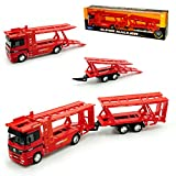 Welly Mercedes-Benz Actros 1857 Autotransporter mit Anhänger Rot LKW Truck 1/32 Modell Auto