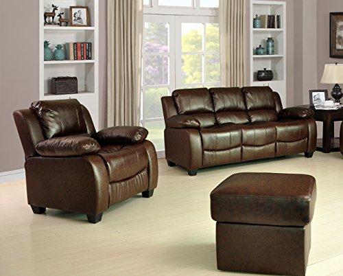 Lovesofas valerie 3+ 1+ 1bonded divani in pelle, colore: marrone