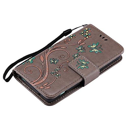 Custodia Xperia Z3 Mini - Cover per Sony Xperia Z3 Mini - ISAKEN Accessories Cover in PU Pelle Portafoglio Tinta Unita Custodia, Elegante Fiori Farfalle Pattern Design in Sintetica Ecopelle Libro Book Flowers: grigio