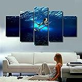 Ruifulex Ölgemälde auf Leinwand, 5 stücke Wanddekor Schlafzimmer Wohnzimmer Hintergrund Kunst Wandmalereien, Bikini Mädchen Surfen 30 * 40 cm * 230 * 60 cm * 230 * 80 cm * 1 rahmenlose