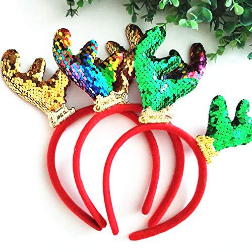 CFPACR - Diadema de reno navideño con lentejuelas