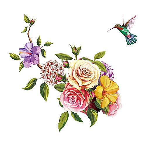 Ufengke adesivi murali fiori adesivi muro colibrì vinile removibile camera da letto soggiorno ufficio decorazioni parete