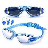 FEILAN Lunettes de natation anti-buée protection UV avec boîtier de protection + Pince-nez + Bouchons d'oreille - Haute Qualité Natation pour adulte enfant Homme Femme et enfants 10 +, bleu
