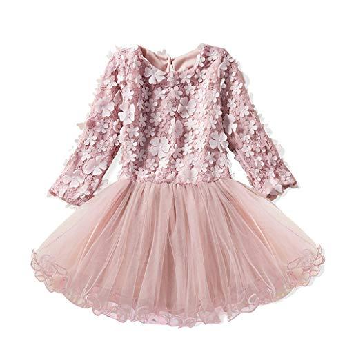IZHH Kinder Kleider, Mädchen Spitzenkleid Kleid Kinder Langarm Blumendruck Prinzessin Hochzeit Leistung Formelle Kleidung Kleidung 18M-6Y(Rosa,130) (Erstkommunion Jungen Schuhe)