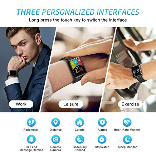 Kospet智能手表,防水智能手表,带计步器/卡路里计数器/心率监测器/睡眠监测器/通知呼叫和消息,男士腕带兼容Android和iOS