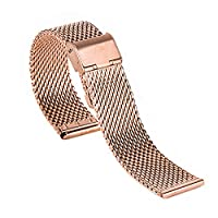 Blenheim London® Classic Rose Gold Mesh 22mm Stainless Steel Watch Silver Strap