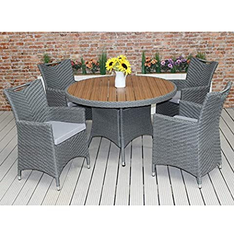 Large Rattan Dining Set For 4 with Plaswood Top 120cm