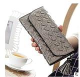 Tocoss(TM) Fashion Knitting Frauen-Geldbeutel Troddel-Frauen-Mappe Lange Haken weibliche Geld-Beutel-Marken-Dame Zipper Wallet Clutch New Carteira F [Silbergrau]