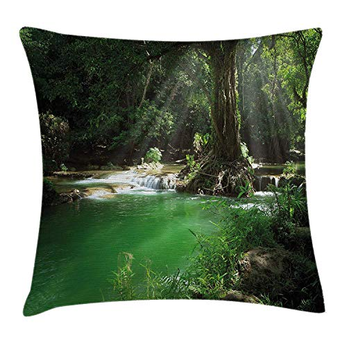 WITHY Nature Throw Pillow Cushion Cover, Tropical Forest Foliage with Cascade Rainforest Relaxing National Park Image, Decorative Square Accent Pillow Case, 18 X 18 Inches, Hunter Green Brown - Cascade Gel