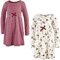 توتشد باي ناتشر فساتين من القطن العضوي للفتيات (الاطفال بعمر الرضاعة، الاطفال الصغار، وعمر الشباب) Youth Holly Berry Long-sleeve 2-pack 8 سنوات