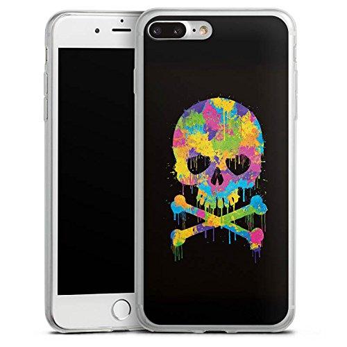 Apple iPhone X Slim Case Silikon Hülle Schutzhülle Skull Watercolour Totenkopf Schädel Silikon Slim Case transparent