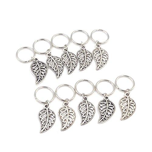 YNuth 10pcs Perles Dreadlocks Barrette Clip Feuille Design Coiffure Bijoux (Argenté 10pcs)